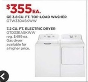GE 3.8 CU. FT. Top-Load Washer GTW33OASKWW