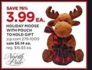 Holiday Moose with Pouch To Hold Gift