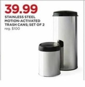 Stainless Steel Motion-Activated Trash Cans - Set of 2