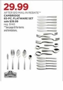 Cambridge 65-PC. Flatware Set After Rebate