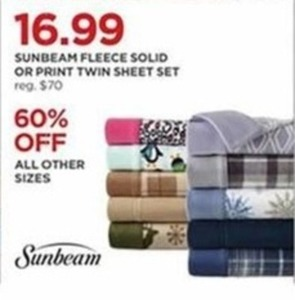 Sunbeam Fleece Solid or Print Twin Sheet Set