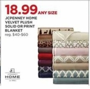 JCPenny Home Velvet Plush Solid or Print Blanket Any Size