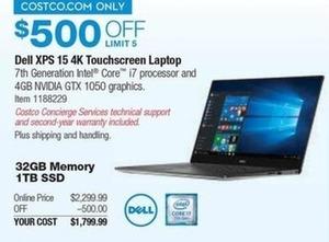 "Dell XPS 15"" 4K Touchscreen Laptop"