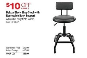 Deluxe Black Shop Stool with Back Support