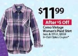 Como Vintage Women's Plaid Shirt