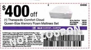 Therapedic Comfort Cloud Queen-Size Memory Foam Mattress Set