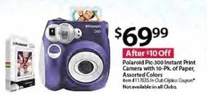 Polaroid Pic-300 Instant Print Camera + 10pk of Paper