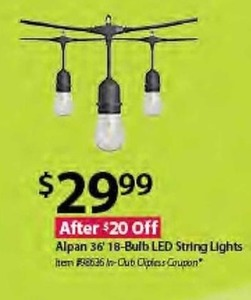Alpan 36' 18-Bulb LED String Lights