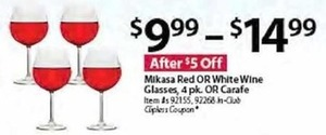 Mikasa Red OR White Wine Glasses, 4 pk. OR Carafe
