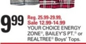 Energy Zone, Bailey's PT or Real Tree Boys' Tops