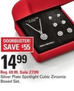 Silver Plate Spotlight Cubic Zirconia Boxed Set
