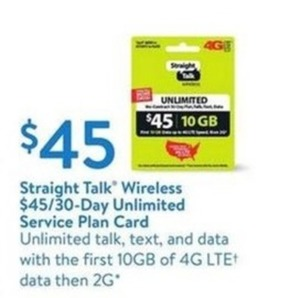 Straight Talk Wireless $45/30 Day Unlimited Service Plan Card