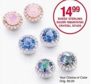 Boxed Sterling Silver Swarovski Crystal Studs
