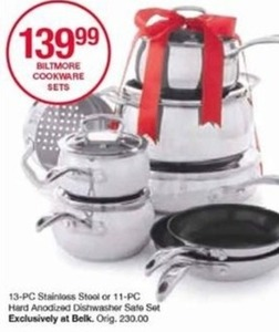 13-PC Biltmore Cookware Stainless Steel Hard Anodized Dishwasher Safe Set