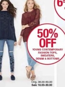 Young Contemporary: Tops,  Sweaters, Denim  & Bottoms