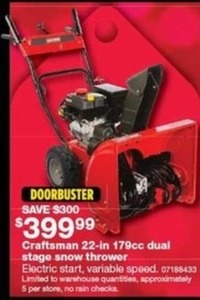 Craftsman 22-in 179cc Dual Stage Snow Thrower