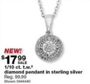 1/10 Ct. T.W.T Diamond Pendant In Sterling Silver