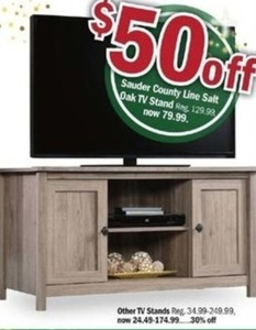 Sauder County Line Salt Oak TV Stand