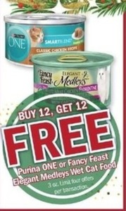Purina ONE or Fancy Feast Elegant Medleys Wet Cat Food