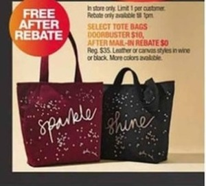 Select Tote Bags After Rebate