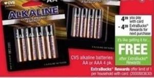AA or AAA Alkaline Batteries 4pk After ExtraBucks