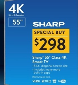 "Sharp 55"" Class 4K Smart TV"
