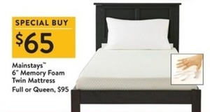 "Mainstays 6"" Memory Foam Twin Mattress  Full or Queen"