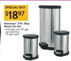 Mainstays 3-Pc. Step Waste Can
