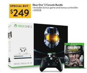 Xbox One S Console Bundle (Includes COD: WWII & Controller)