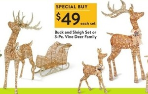 Buck and Sleigh Set or 3-PC Vine Deer Family