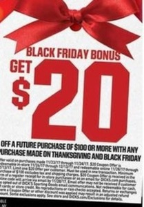 $20 off Future Purchase with Purchase of $100 or more on Thanksgiving or Black Friday