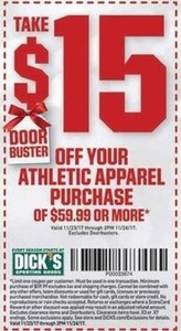 Athletic Apparel Purchase of $59.99 Or More