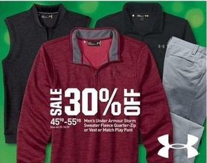 Men's Under Armour Storm Sweater Fleece Quarter-Zip or Vest or Match Play Pant