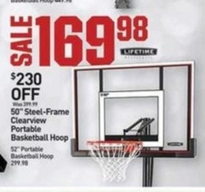 "Lifetime 50"" Steel-Frame Clearview Portable Basketball Hoop"