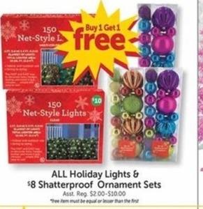 All Holiday Lights & Shatterproof Ornament Sets