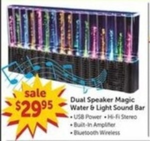 Dual Speaker Magic Water and Light Sound Bar with Bluetooth Wireless USB Power and Hi-Fi Stereo