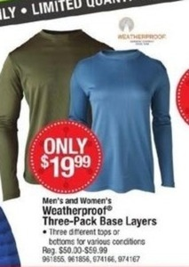 Men and Women's Weatherproof Three Pack Base Layers
