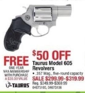 Taurus Model Revolvers + Free 1 Year NRA Membership