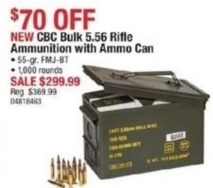 CBC Bulk 5.56 Rifle Ammunition with Ammo Can