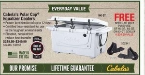 Cabela's Polar Equalizer Coolers + Free Wheel Kit, 40, 60, 80 QT Coolers