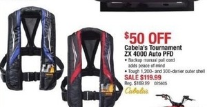 Cabela's Tournament ZX 4000 Auto PFD