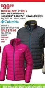 Select Men's & Women's Columbia Lake 22 Down Jackets