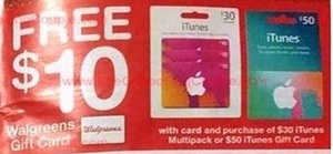 $10 Gift Card w/ Card & $30 or $50 iTunes Card Pack Purchases