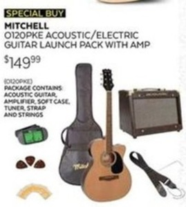 Mitchell 0120PKE Acoustic/Electric Guitar Bundle w/ Amp