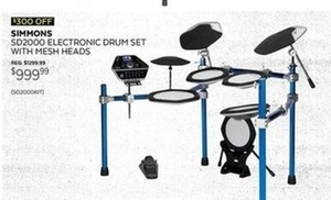 Simmons SD2000 Electronic Drum Set with Mesh Heads