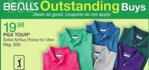 PGA Tour Solid Airflux Polos for Men