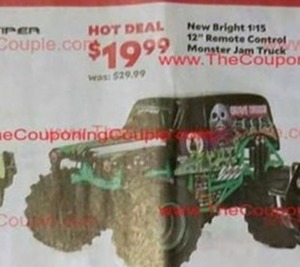 "New Bright 12"" Remote Control Monster Jam Truck"