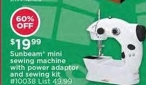 Sunbeam Mini Sewing Machine w/ Power Adaptor and Sewing Kit