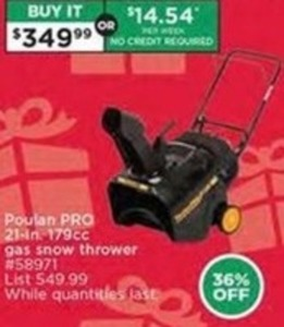 "Poulan PRO 21"" 179cc Gas Snow Thrower"