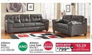 Alliston Sofa and Alliston Love Seat